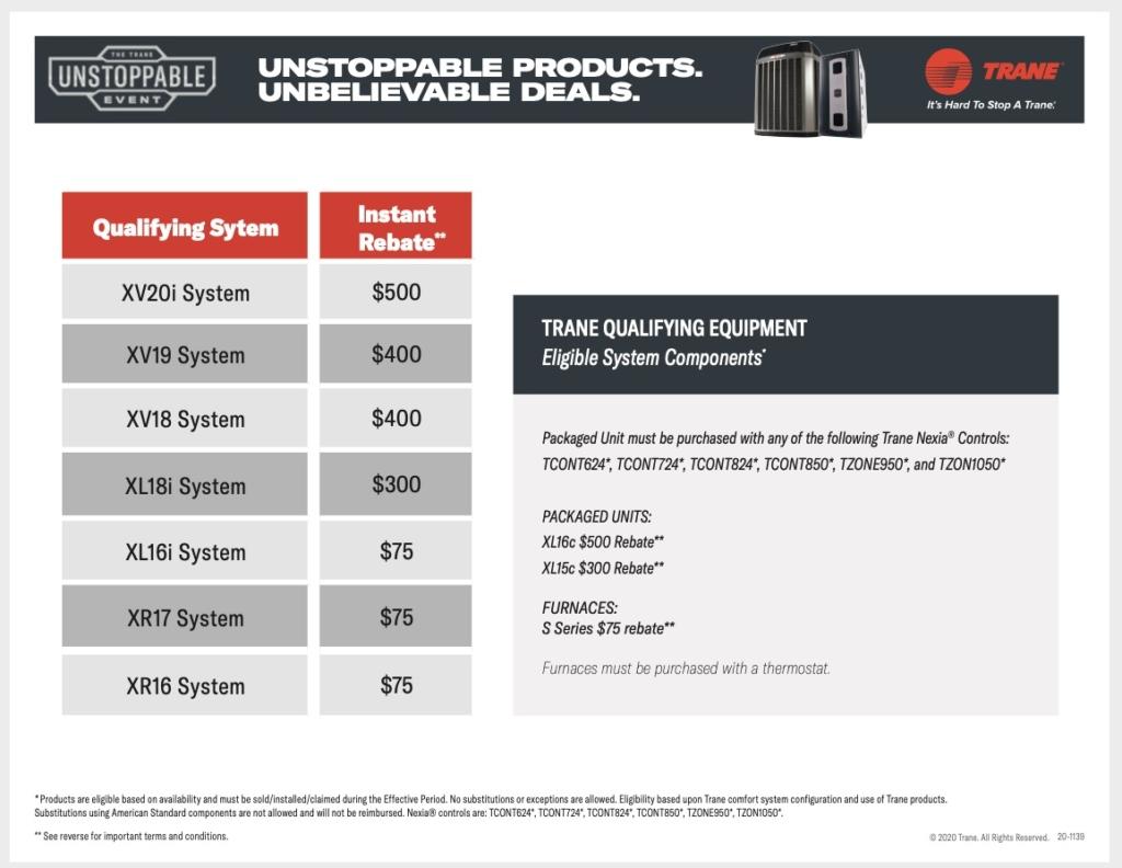 TRANE 2020 Promotional Equipment Rebate